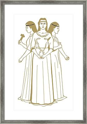 Digital Illustration Of Celtic Triple Goddess Brigit Holding Snakes Rising From Flames Framed Print by Dorling Kindersley