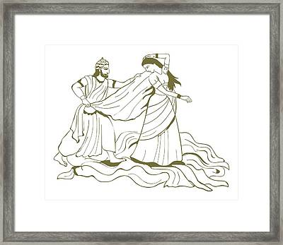 Digital Illustration Of Duhsasana Trying To Disrobe Draupadi But The Length Of Her Sari Endlessly In Framed Print by Dorling Kindersley