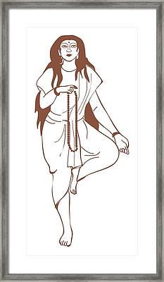 Digital Illustration Of Hindu Goddess Parvati Standing On One Leg And Holding Prayer Beads Framed Print by Dorling Kindersley