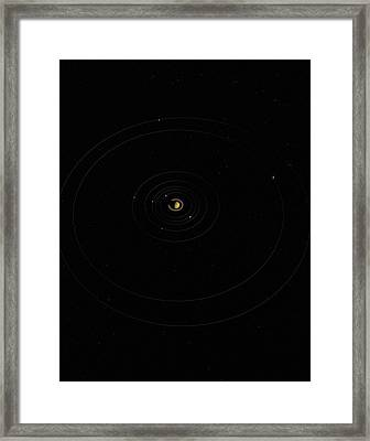 Digital Illustration Of Saturn And Its Moons Framed Print by Jason Reed
