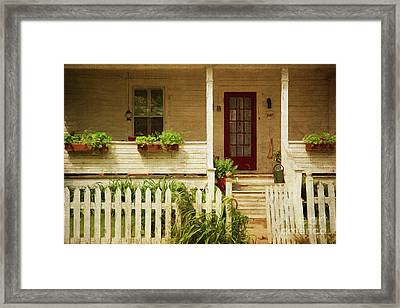Digital Painting Of Front Porch Rural Farmhouse Framed Print by Sandra Cunningham