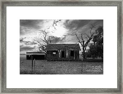 Dilapidated Old Farm House . 7d10341 . Black And White Framed Print by Wingsdomain Art and Photography