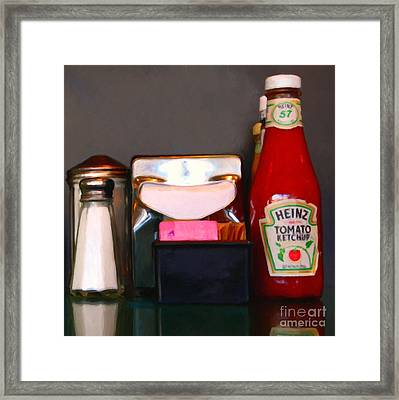 Diner Table Condiments And Other Items - 5d18035- Painterly Framed Print by Wingsdomain Art and Photography
