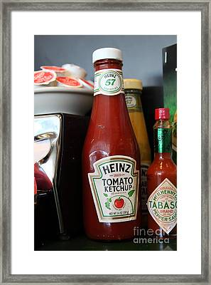 Diner Table Condiments And Other Items - 5d18038 Framed Print by Wingsdomain Art and Photography