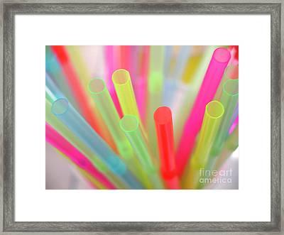 Drinking Straws Framed Print by Carlos Caetano