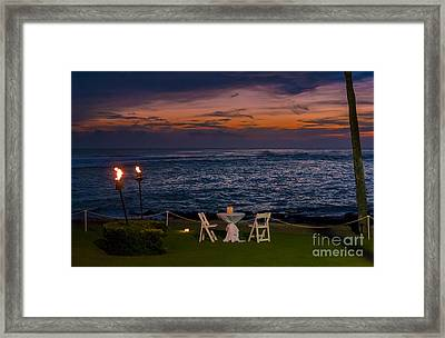 Dinner Setting In Paradise Framed Print by Darcy Michaelchuk