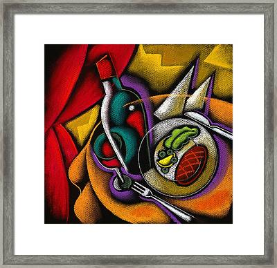 Dinner With Wine Framed Print by Leon Zernitsky