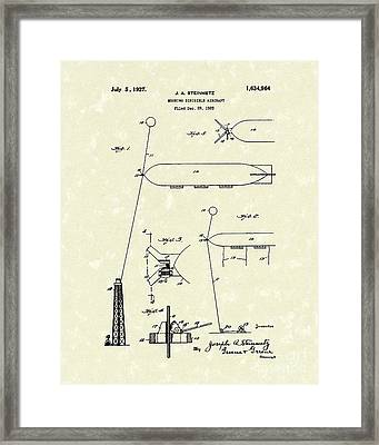 Dirigible 1927 Patent Art Framed Print by Prior Art Design