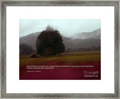 Discovery Consists Of Seeing.. Framed Print by Karen Lewis