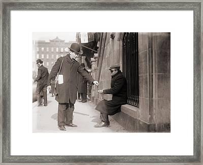 Disfigured Beggar Receiving Change Framed Print by Everett