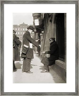 Disfigured Man Begging On The Street Framed Print by Everett