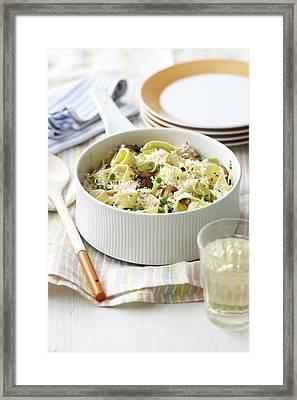 Dish Of Creamy Vegetable Pasta Framed Print by Cultura/BRETT STEVENS