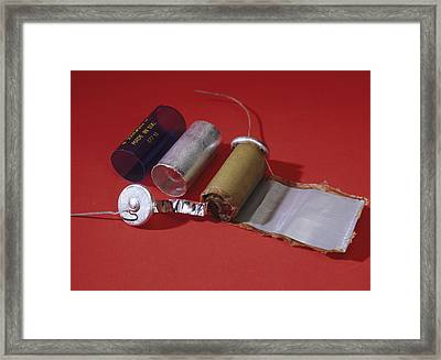 Dismantled Capacitor Framed Print by Andrew Lambert Photography