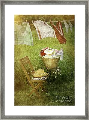 Distressed Photo Of Wash Day  Framed Print by Sandra Cunningham