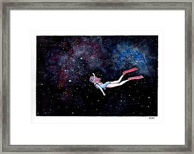 Diving Through Nebulae Framed Print by Katchakul Kaewkate