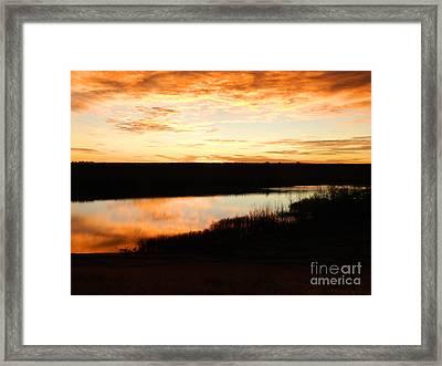 Dixon Reservoir Sunrise Framed Print by Sara  Mayer