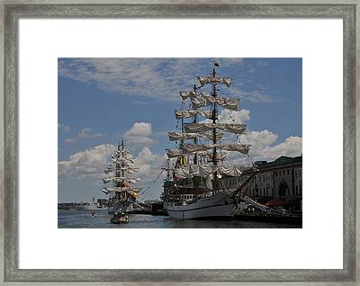 Docked At Fish Pier Framed Print by Mike Martin