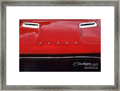 Dodge Challenger Hood And Grill Framed Print by Bob Christopher