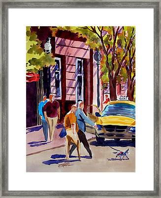 Dog Crossing Framed Print by Ron Stephens