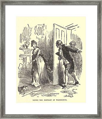 Dolley Madison Saving The Portrait Framed Print by Everett