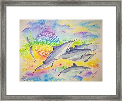 Dolphins-color Framed Print by Tamara Tavernier