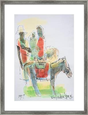 Donkey Lady Framed Print by Carey Chen