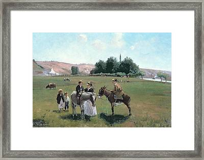 Donkey Ride Framed Print by Camille Pissarro