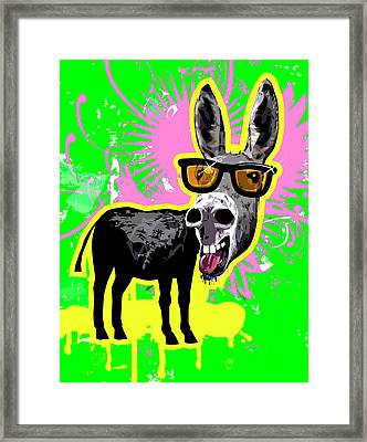 Donkey Wearing Sunglasses, Laughing Framed Print by New Vision Technologies Inc