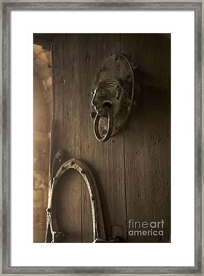 Door Knocker Of The Basilica Saint-julien. Brioude. Haute Loire. Auvergne. France. Framed Print by Bernard Jaubert