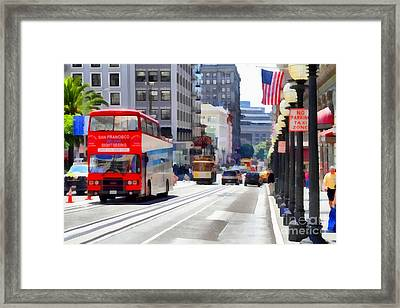 Double Decker Sightseeing Bus Along Powell Street In San Francisco California . 7d7269 Framed Print by Wingsdomain Art and Photography
