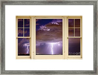 Double Lightning Strike Picture Window Framed Print by James BO  Insogna