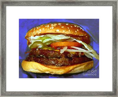 Double Whopper With Cheese And The Works - V2 - Painterly - Purple Framed Print by Wingsdomain Art and Photography