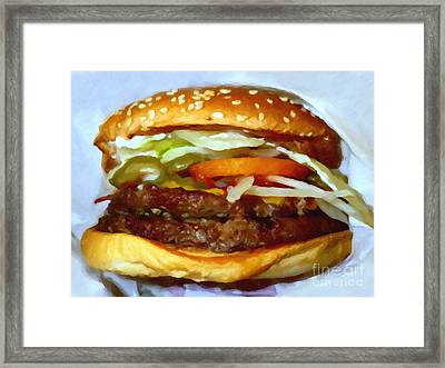 Double Whopper With Cheese And The Works - V2 - Painterly Framed Print by Wingsdomain Art and Photography