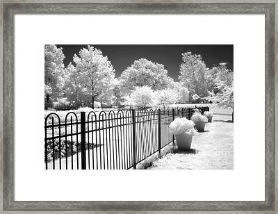 Dow Gardens Infrared Michigan Landscape Fine Art Framed Print by Kathy Fornal