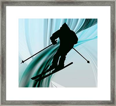 Downhill Skiing On Icy Ribbons Framed Print by Elaine Plesser