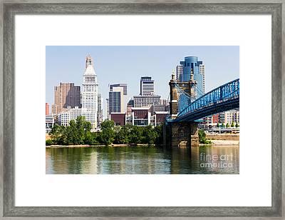 Downtown Cincinnati Skyline And Roebling Bridge Framed Print by Paul Velgos