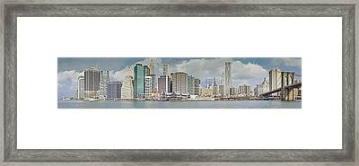 Downtown Manhattan Panorama 3 Framed Print by Val Black Russian Tourchin