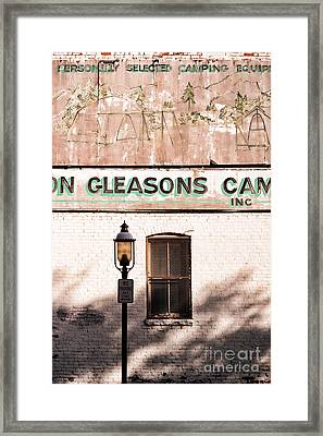 Downtown Northampton - Streetlamp And Store Framed Print by HD Connelly