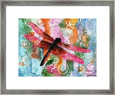 Dragonfly Fairy I Framed Print by Miriam Schulman