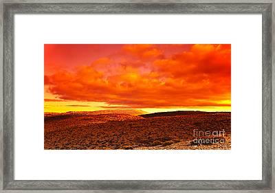 Dramatic Red Sunset At Desert Framed Print by Anna Omelchenko