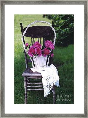 Dreamy Cottage Chic Vintage Pink Peonies In Basket On Old Vintage Chair Framed Print by Kathy Fornal