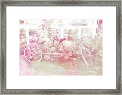 Dreamy Paris Pink Pastel Bicycle For Two Framed Print by Kathy Fornal
