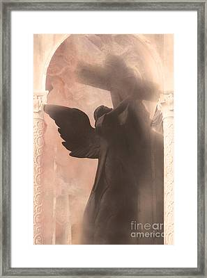 Dreamy Spiritual Ethereal Angel On Cross Framed Print by Kathy Fornal