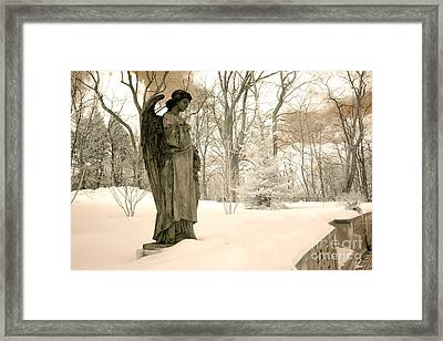 Dreamy Surreal Angel Sepia Nature Scene Framed Print by Kathy Fornal