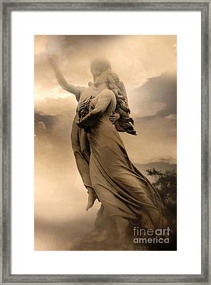 Dreamy Surreal Guardian Angels Ascent To Heaven Framed Print by Kathy Fornal