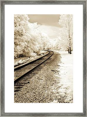 Dreamy Surreal Infrared Sepia Railroad Scene Framed Print by Kathy Fornal