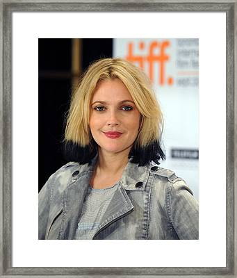 Drew Barrymore At The Press Conference Framed Print by Everett