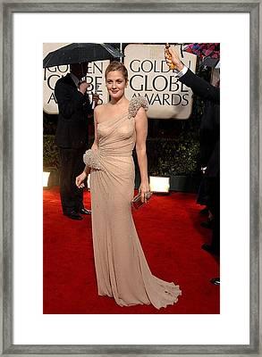 Drew Barrymore Wearing An Atelier Framed Print by Everett