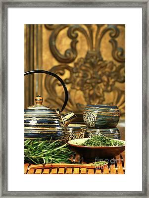 Dries Herb Leaves  Framed Print by Sandra Cunningham