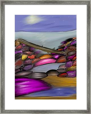 Driftwood Resting At Night Framed Print by Paula Brown